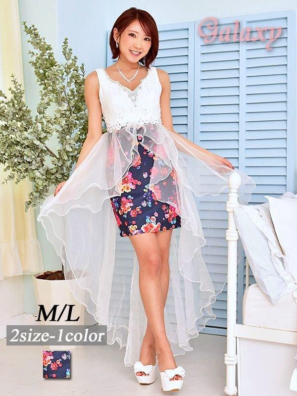 画像1: 豪華クリスタルビジュー&パール装飾*フラワーレース重ねふわふわ2段ティアードオーガンジー*花柄インナーミニロングドレス*1color*M/L (1)