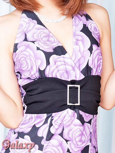 画像1: クリスタルストーン付スクエアーバックル*グラデーションローズ柄エンボス地ロングドレス*2color