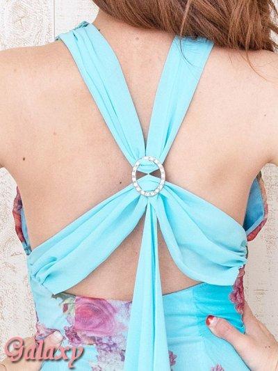 画像2: フラワーモチーフレースネック*ヴィンテージ水彩フラワーシフォンロングドレス*2color