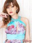 画像6: フラワーモチーフレースネック*ヴィンテージ水彩フラワーシフォンロングドレス*2color  (6)