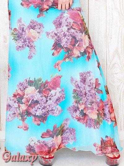 画像3: フラワーモチーフレースネック*ヴィンテージ水彩フラワーシフォンロングドレス*2color