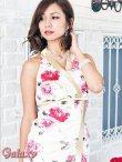 画像8: 上質★BIGリボンシルエット☆薔薇柄チャイナ風サテンロングドレス*2color (8)