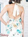 画像6: 上質★BIGリボンシルエット☆薔薇柄チャイナ風サテンロングドレス*2color (6)
