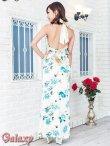 画像4: 上質★BIGリボンシルエット☆薔薇柄チャイナ風サテンロングドレス*2color (4)