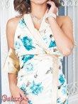 画像5: 上質★BIGリボンシルエット☆薔薇柄チャイナ風サテンロングドレス*2color (5)