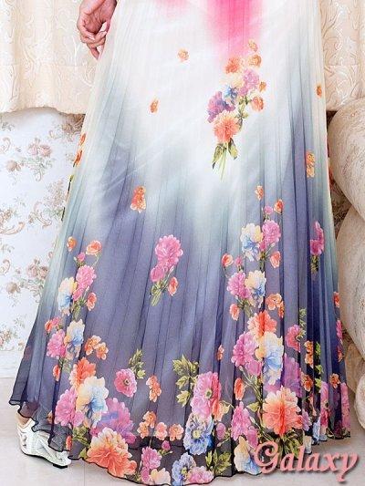 画像3: サイドカット魅せグラデーションプリーツロングドレス