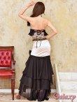 画像5: 艶サテン*ビーズ装飾*シフォンフリル*でかリボン付き*2ピースロングドレス (5)
