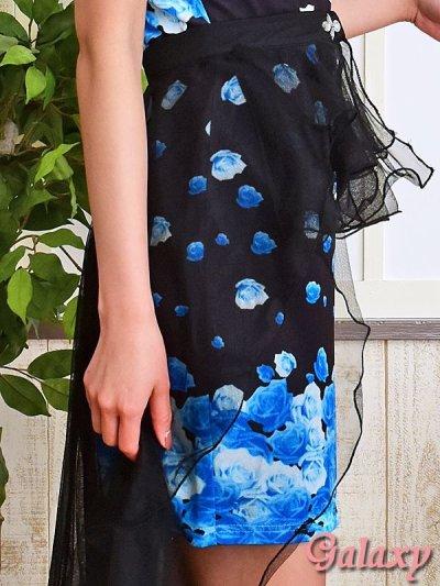 画像2: 【2way】テールカットBlackヴェール付*豪華ビジュー装飾薔薇柄インナーミニロングドレス