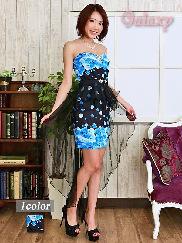 画像1: 【2way】テールカットBlackヴェール付*豪華ビジュー装飾薔薇柄インナーミニロングドレス (1)