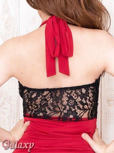 画像3: GOLDバックル付*バイカラーギャザーマーメイドラインホルターロングドレス*2color
