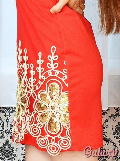 画像2: ゴールドパイピング刺繍*スパンコールストレッチキャミワンピース*3color