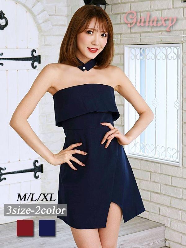 画像1: ボウタイ付き*ラップスカートベアミニワンピースドレス*2color*M/L/XL (1)