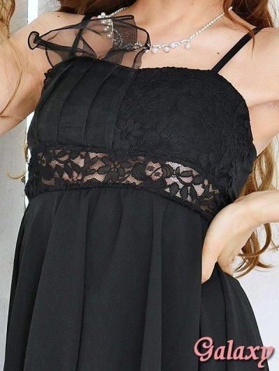 画像1: オーガンジーリボン*ウエストレースSEXYミニinロングドレス*2color