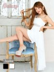 画像1: オーガンジーリボン*ウエストレースSEXYミニinロングドレス*2color (1)