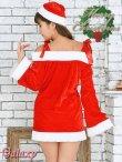 画像3: 肩リボンオフショルダー*サンタワンピ*セクシークリスマスコスチューム【2点セット】 (3)
