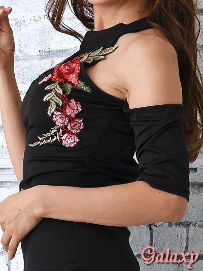画像2: 袖付き薔薇刺繍*肩開きSEXYオフショルミニワンピース*1color*M/L