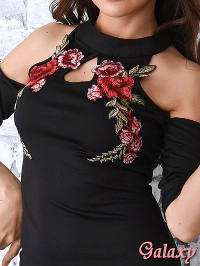 画像1: 袖付き薔薇刺繍*肩開きSEXYオフショルミニワンピース*1color*M/L