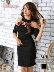 画像1: 袖付き薔薇刺繍*肩開きSEXYオフショルミニワンピース*1color*M/L (1)