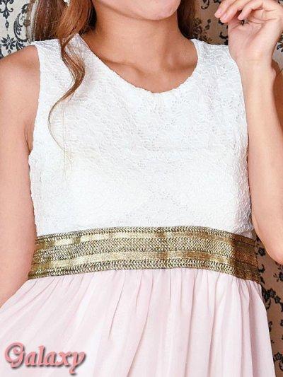 画像1: 胸下ゴールドライン*レース切替シフォンテールミニドレス*4color*M/L/XL/XXL