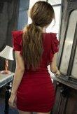 画像6: Vネックフリル袖*シャーリング入りミニワンピースドレス*2color*M/L/XL/XXL/3XL/4XL (6)