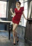 画像5: Vネックフリル袖*シャーリング入りミニワンピースドレス*2color*M/L/XL/XXL/3XL/4XL (5)