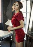 画像3: Vネックフリル袖*シャーリング入りミニワンピースドレス*2color*M/L/XL/XXL/3XL/4XL (3)