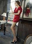 画像4: Vネックフリル袖*シャーリング入りミニワンピースドレス*2color*M/L/XL/XXL/3XL/4XL (4)