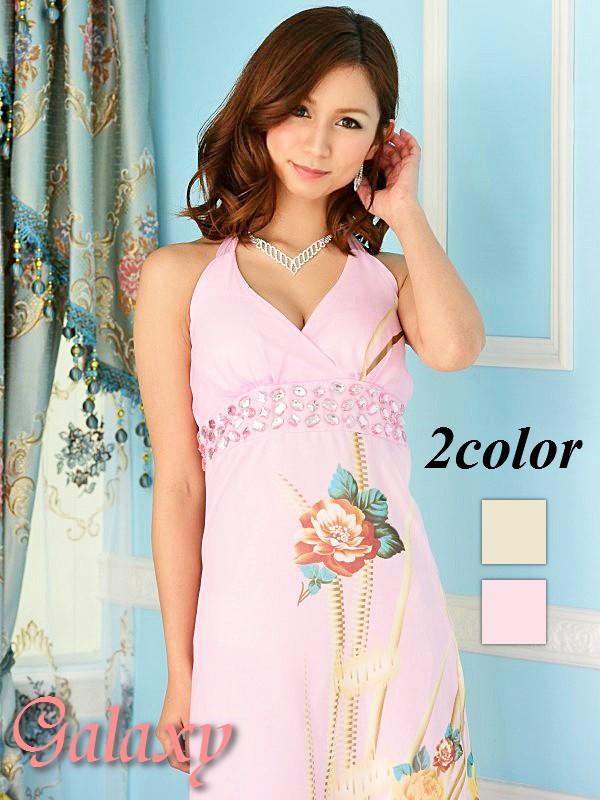 上品シフォン胸下カラービジュー装飾花柄ロングドレス*2color